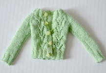 ...green knitted cardigan...